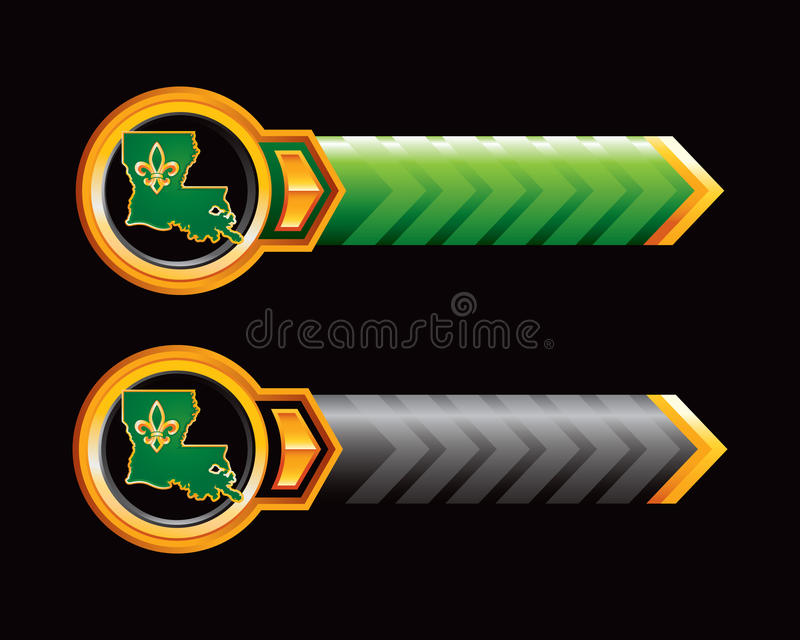 Louisiana-Ikone auf den grünen und schwarzen Pfeilen lizenzfreie abbildung