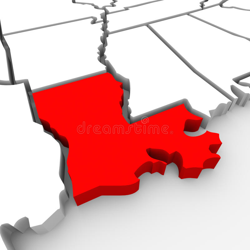 Louisiana Red Abstract 3D State Map United States America vector illustration
