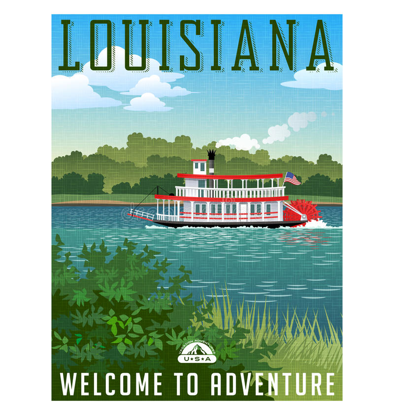 Louisiana-Reiseplakat oder -aufkleber stock abbildung