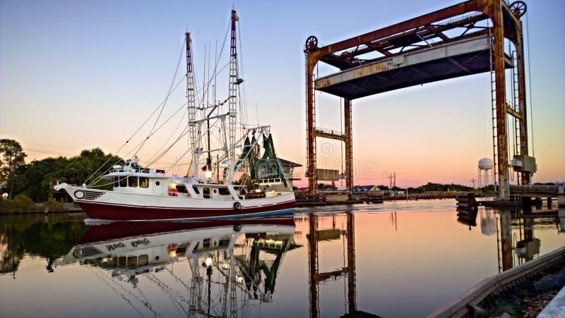 Louisiana Shrimp Boat. A shrimp boat at Golden Meadow, Louisiana on the Gulf Coast royalty free stock images