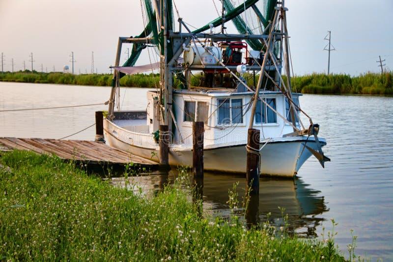 Louisiana Shrimp Boat. A shrimp boat at Golden Meadow, Louisiana on the Gulf Coast stock image