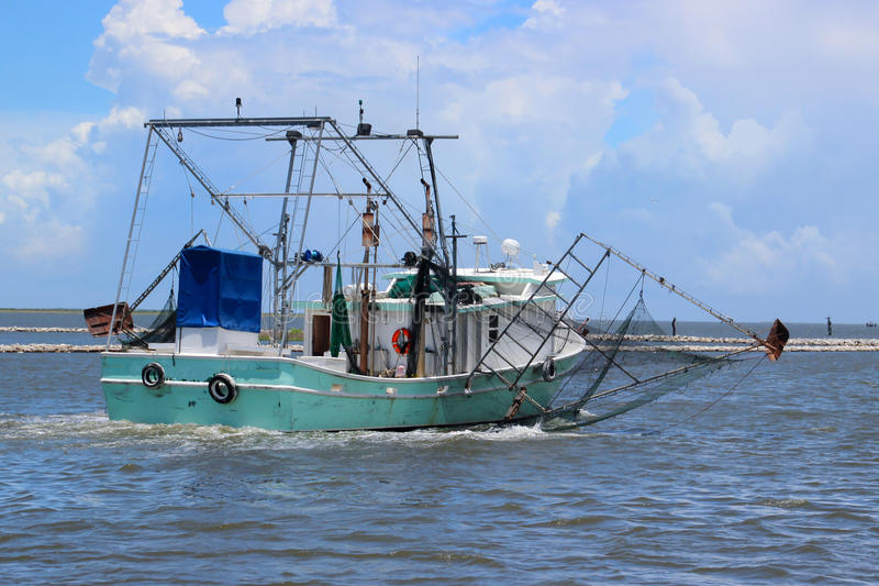 Louisiana Shrimp Boat. A shrimp boat at Grand Isle, Louisiana on the Gulf Coast stock image