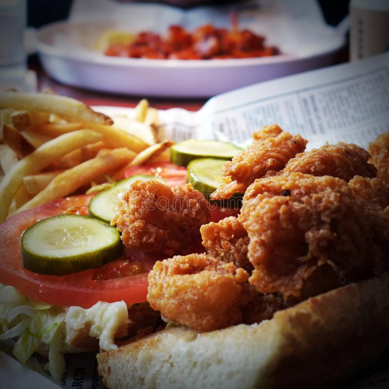 Louisiana Shrimp PoBoy. Is a staple in the South. It`s a culinary tradition royalty free stock photos