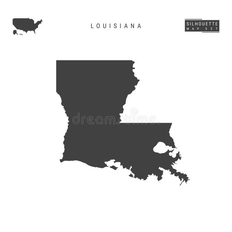 Louisiana USA påstår vektoröversikten som isoleras på vit bakgrund Hög-specificerad svart konturöversikt av Louisiana stock illustrationer
