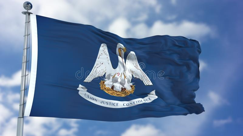 Louisiana Waving Flag. Louisiana U.S. state flag waving against clear blue sky, close up, isolated with clipping path mask luma channel, perfect for film, news royalty free stock images