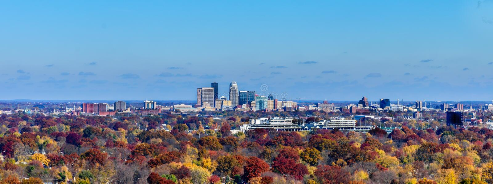 Louisville Skyline with Churchill Downs in the foregound. LOUISVILLE, KY, USA - NOV 20 2016: Autumn photo of Louisville KY skyline with Churchill Downs in the stock image