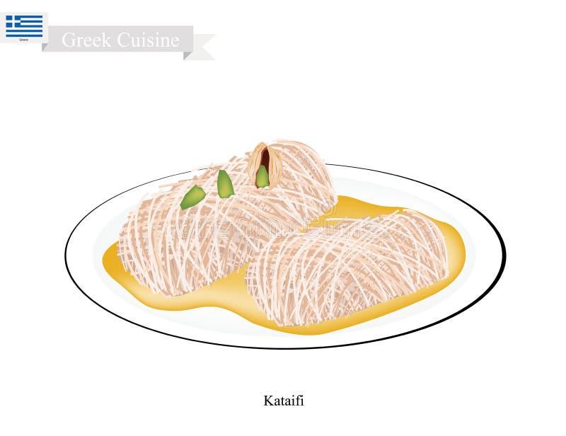 Loukoumades eller grekiska efterrättbollar med söt sirap stock illustrationer