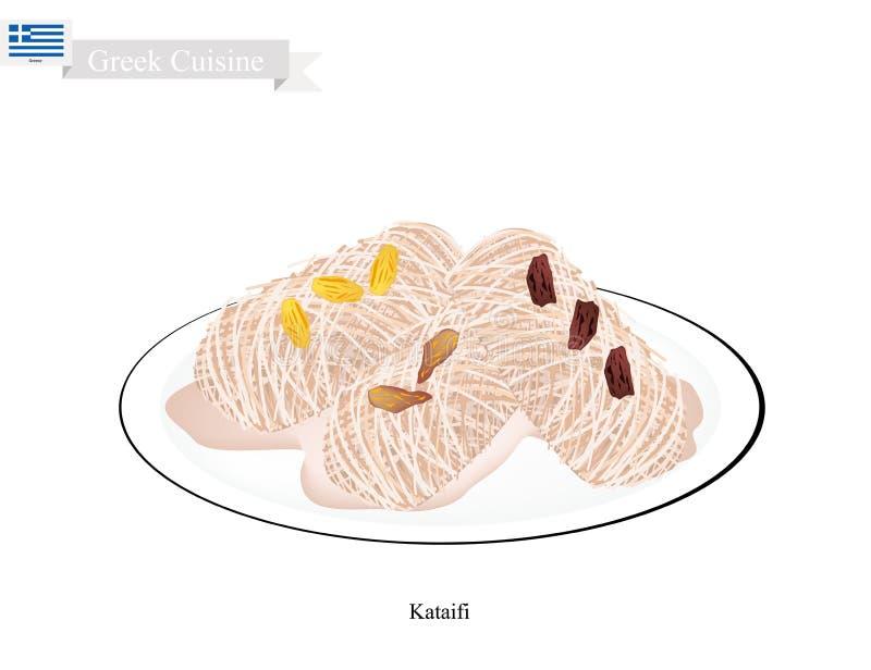 Loukoumades o palle greche del dessert con sciroppo dolce illustrazione vettoriale