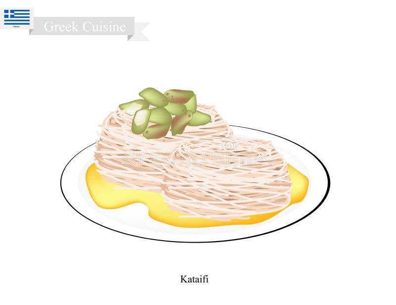 Loukoumades o palle greche del dessert con sciroppo dolce royalty illustrazione gratis