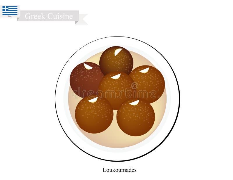 Loukoumades o palle greche del dessert con sciroppo dolce illustrazione di stock