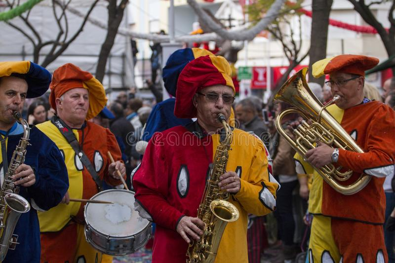 LOULE, PORTUGAL - FEB 2018: Colorful Carnival (Carnaval) Parade. Festival participants on Loule city, Portugal stock photo