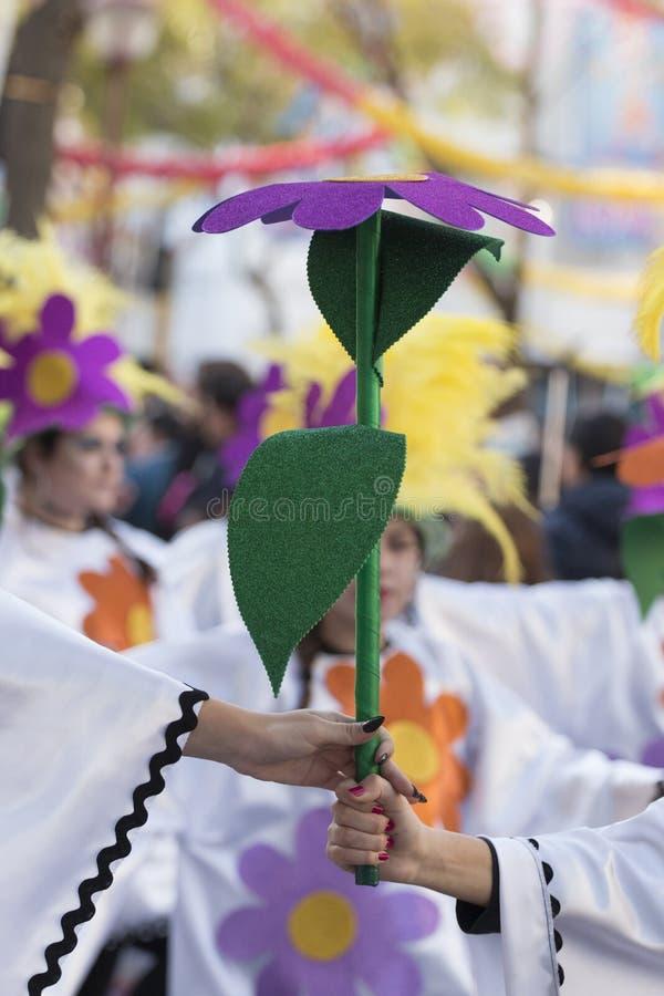 LOULE PORTUGAL - FEBRUARI 2018: Den färgrika karnevalet (Carnaval) ståtar royaltyfri fotografi