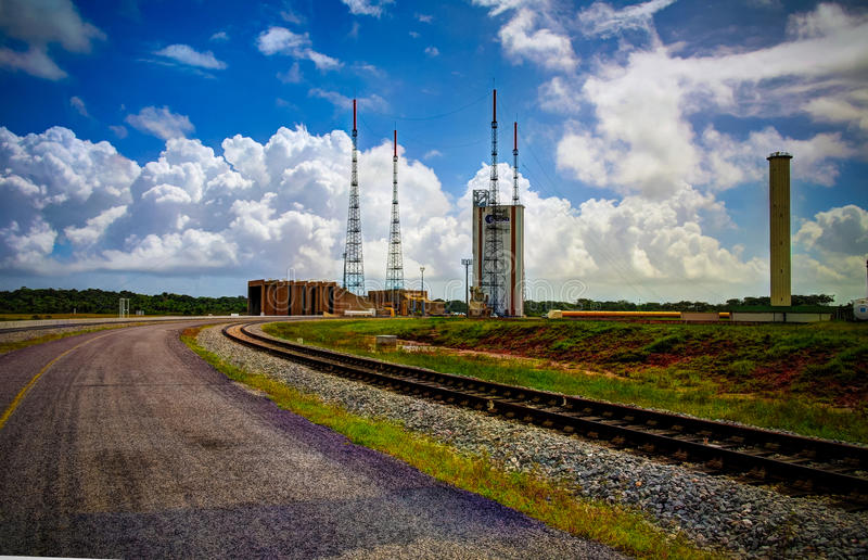 Lounchers внутри центра космоса Гвианы, Куру, Французские Гвианы стоковые фото
