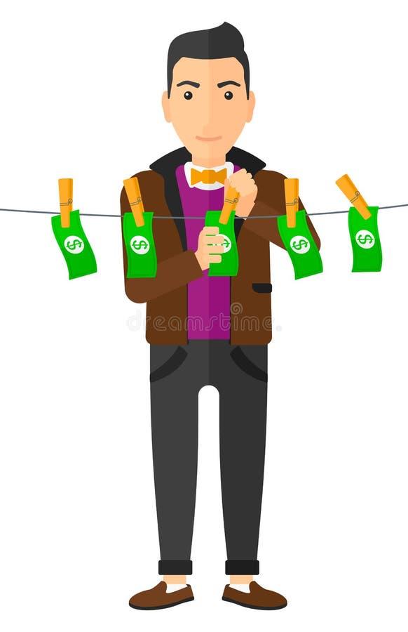 Loundering pengar för man vektor illustrationer