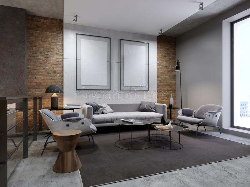 Lounge area in the apartment with a sofa, armchair and side tables. Empty picture on decorative concrete wall stock illustration
