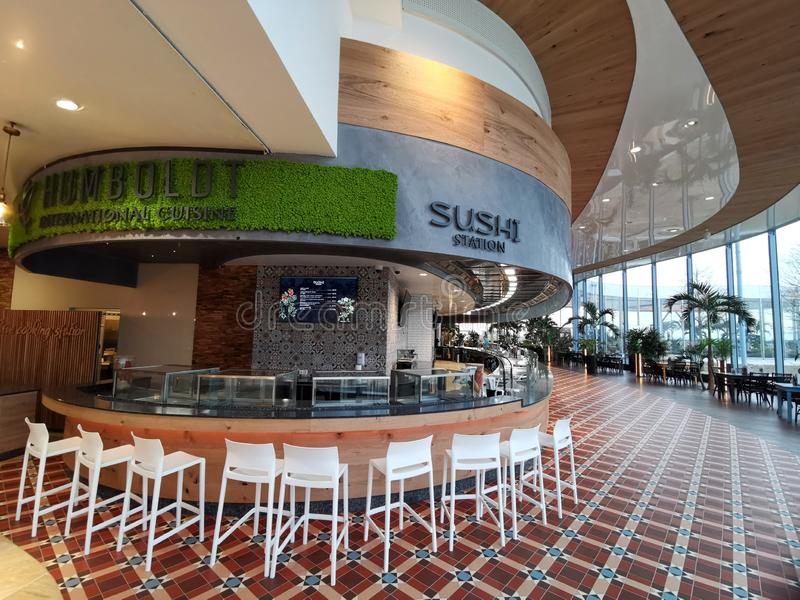 Lounge bar - Sushi station at Therme Bucharest. Romania royalty free stock photo