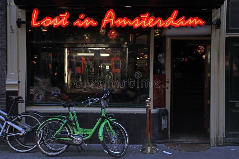 Lounge Cafe «Lost in Amsterdam». AMSTERDAM, NETHERLANDS - MAY 3, 2016: Lounge Cafe «Lost in Amsterdam» in the city center, Nieuwendijk street, in stock images