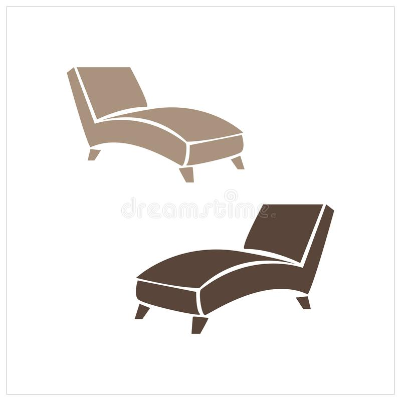 Lounge chair, brown recliner chair isolated on white background, psychiatrist chair, furniture for relaxing, vector. Illustration isolated on a white background royalty free illustration
