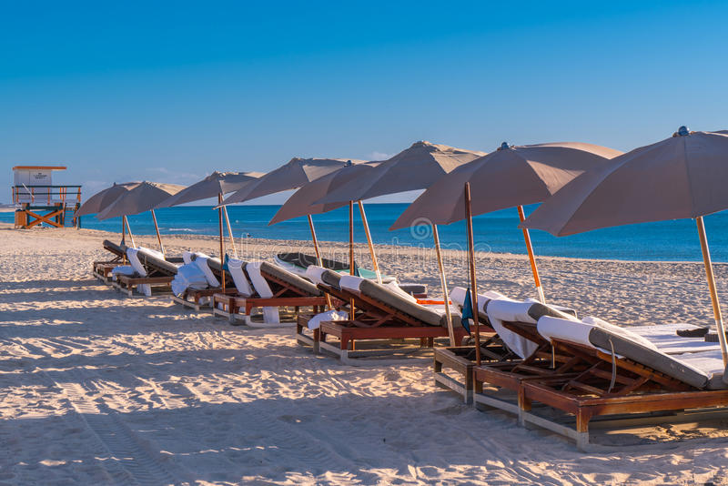 Lounge Chairs Lined up on South Beach stock photo