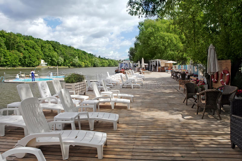 Lounge chairs and pool on a pier