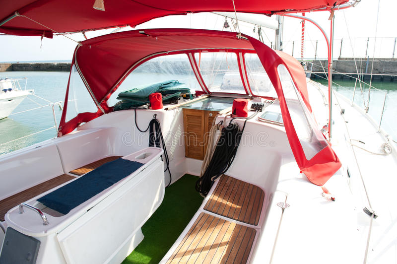 Lounge cockpit in a boat. Lounge cockpit inside a boat stock photo