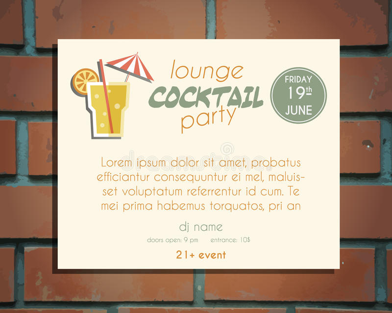 cocktail party invite template - lounge cocktail party poster invitation template stock