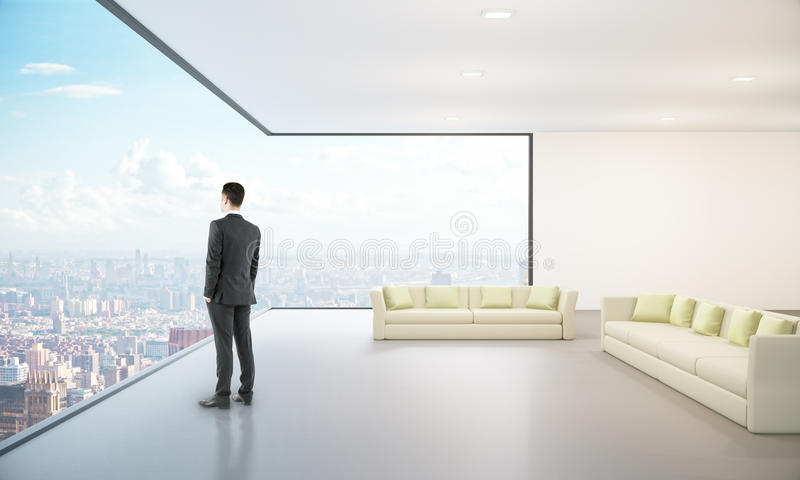 Lounge interior with city view royalty free stock image