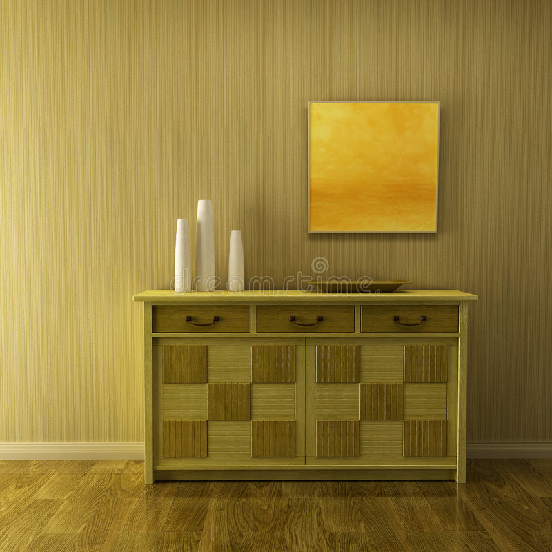 Lounge room with cupboard. 3d interior with classic cupboard beside green wall stock illustration