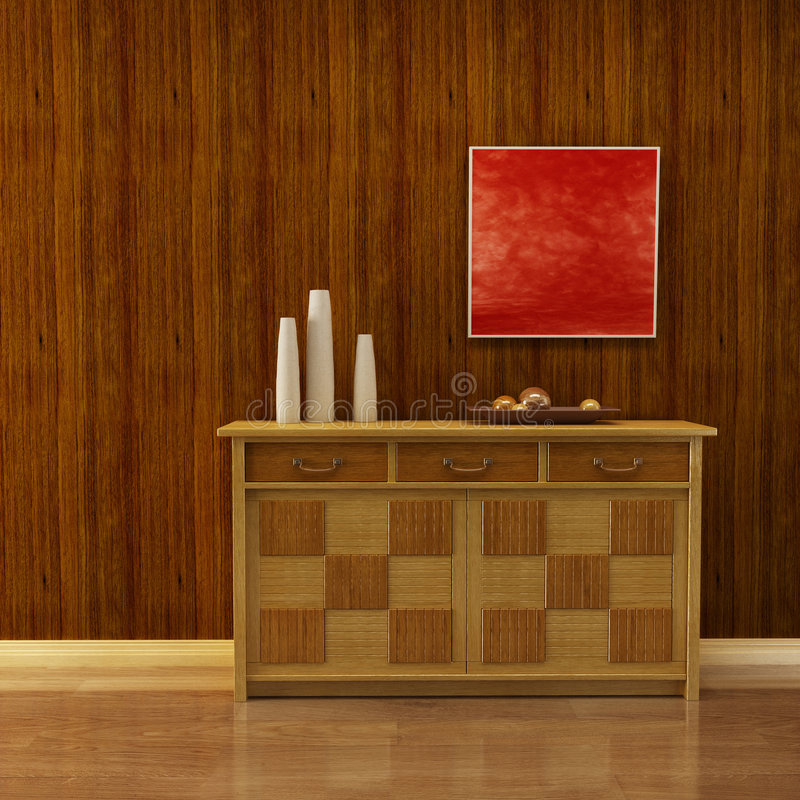 Lounge room with cupboard. 3d interior with classic cupboard beside wooden wall vector illustration