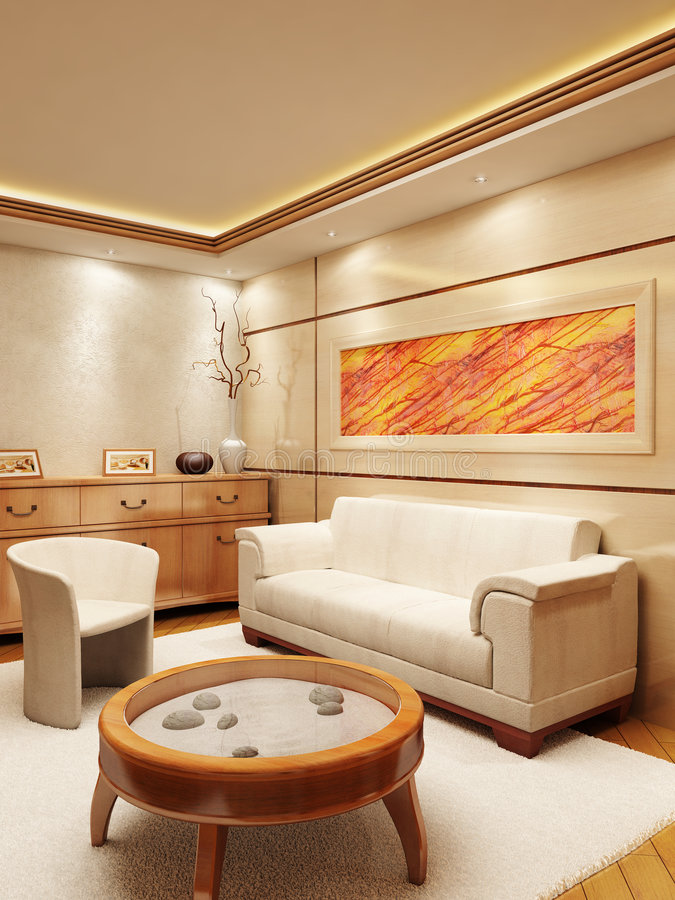 Lounge room interior. 3d rendering of the lounge room in yacht style vector illustration