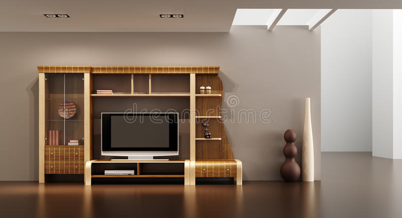 Lounge room interior with bookshelf and TV. 3d interior with modern bookshelf with TV vector illustration