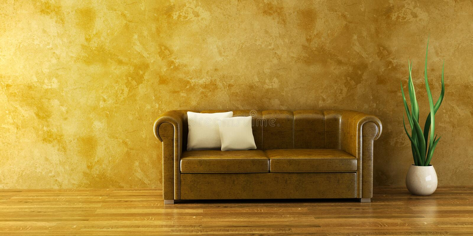 Lounge room with leather couch stock illustration