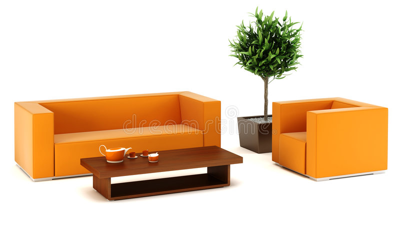 Download Lounge Room With Leather Couch Stock Illustration - Image: 6806678