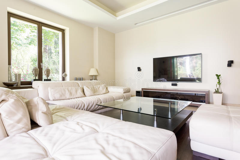 Lounge room making life luxurious. Luxurious living room with large leather sofas and a glass coffee table stock photo
