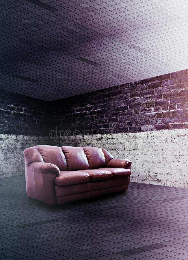 Lounge room. Modern club interior with sofa stock photo