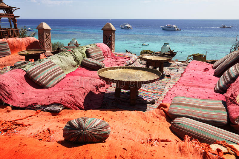 Lounge on sharm beach. Lounge and relax area on red sea in sharm el sheikh stock images