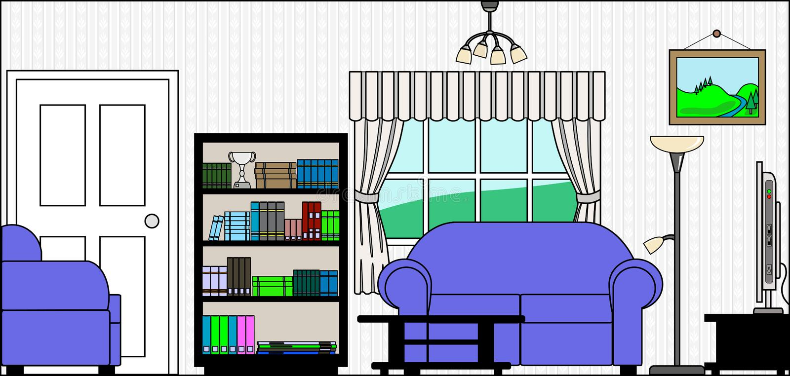 Download Lounge Or Sitting Room With Furniture And Fittings Stock Vector - Image: 26487425