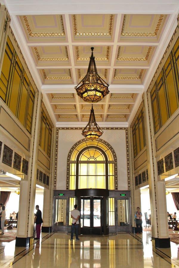 Lounge van het Vredeshotel in Shanghai royalty-vrije stock afbeeldingen