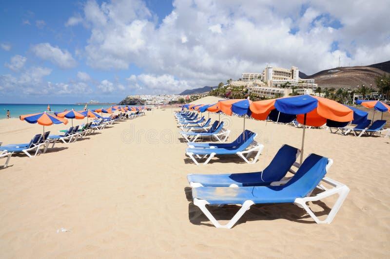 Lounger di Sun sulla spiaggia immagine stock libera da diritti