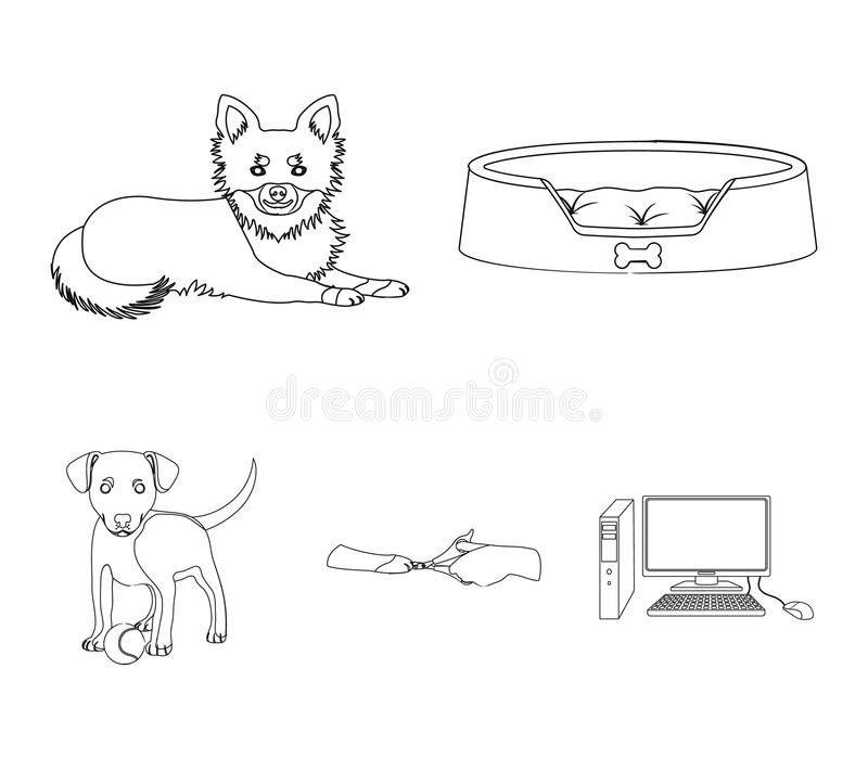 Lounger for a pet, clipping of claws in a vet clinic, lying dog, puppy with a ball. Vet clinic and pet,dog care set. Collection icons in outline style vector stock illustration