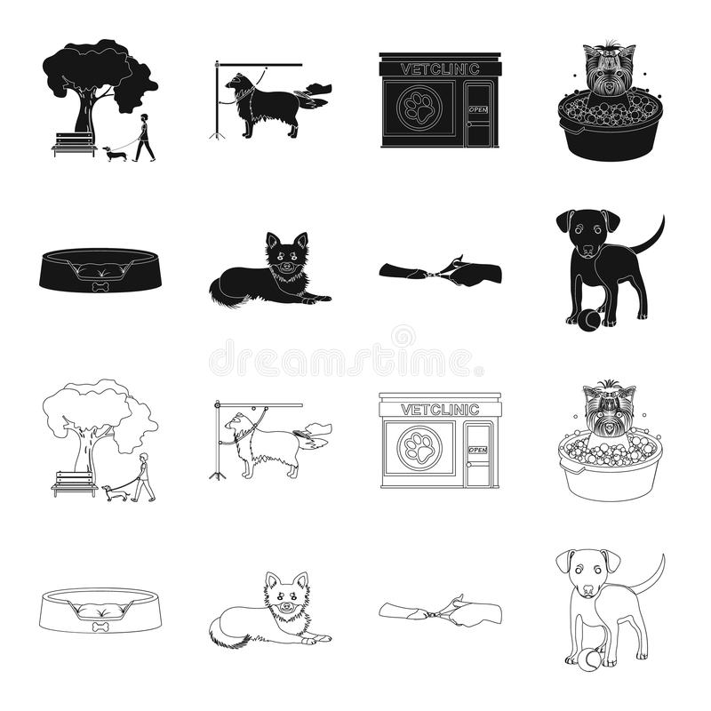 Lounger for a pet, clipping of claws in a vet clinic, lying dog, puppy with a ball. Vet clinic and pet,dog care set. Collection icons in black,outline style royalty free illustration
