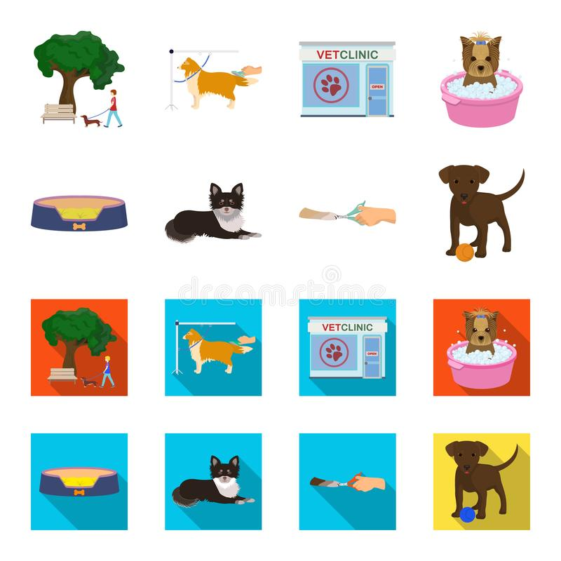 Lounger for a pet, clipping of claws in a vet clinic, lying dog, puppy with a ball. Vet clinic and pet,dog care set. Collection icons in cartoon,flat style royalty free illustration