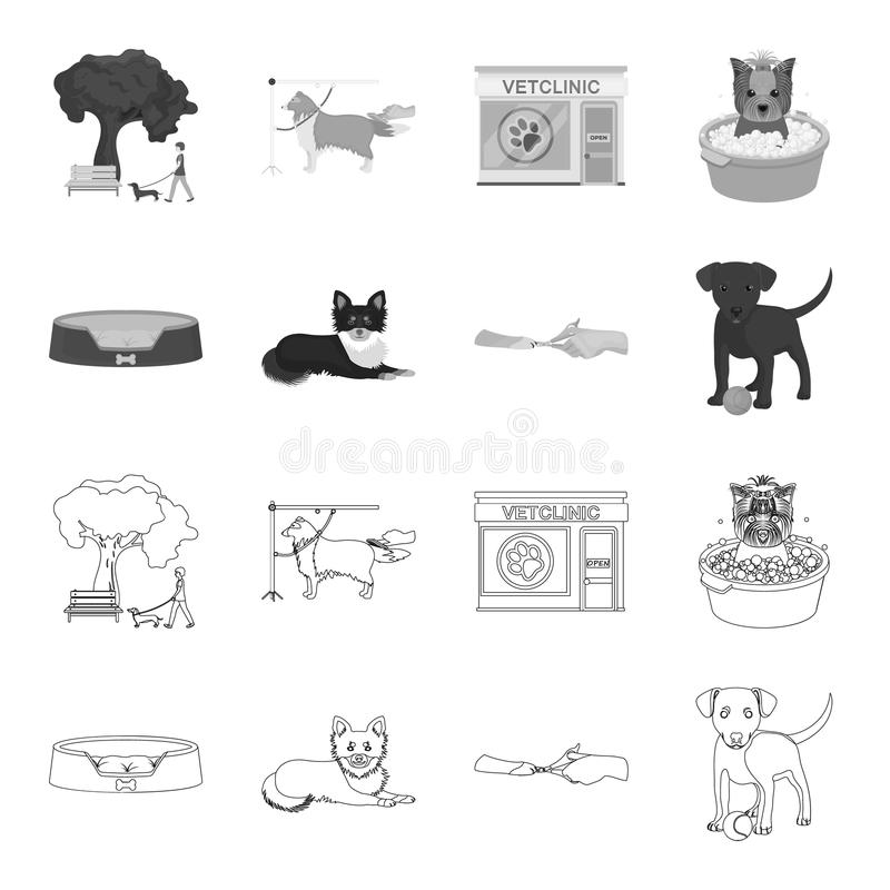 Lounger for a pet, clipping of claws in a vet clinic, lying dog, puppy with a ball. Vet clinic and pet,dog care set. Collection icons in outline,monochrome stock illustration