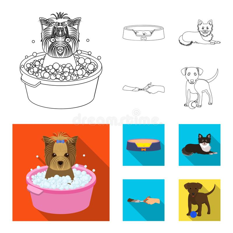 Lounger for a pet, clipping of claws in a vet clinic, lying dog, puppy with a ball. Vet clinic and pet,dog care set. Collection icons in outline,flat style royalty free illustration