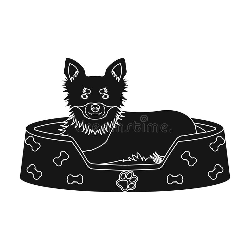 Lounger for a pet, a sleeping place. Dog,care of a pet single icon in black style vector symbol stock illustration web. Lounger for a pet, a sleeping place. Dog royalty free illustration
