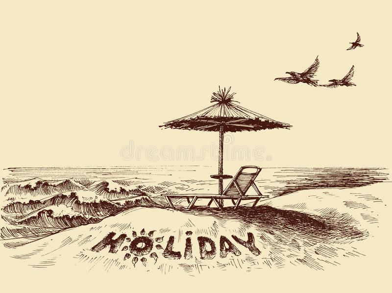 Lounger and umbrella on the beach royalty free illustration