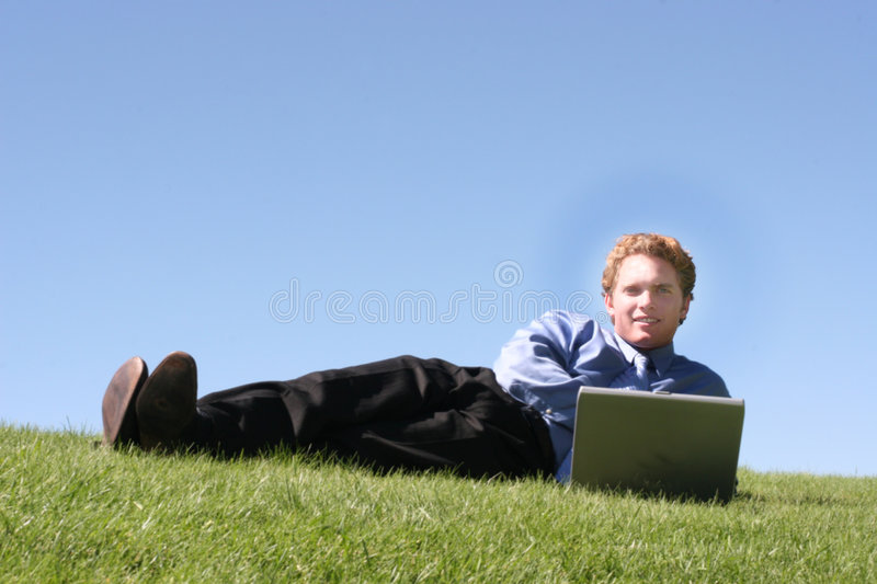 Lounging Outdoor Businessman royalty free stock photos