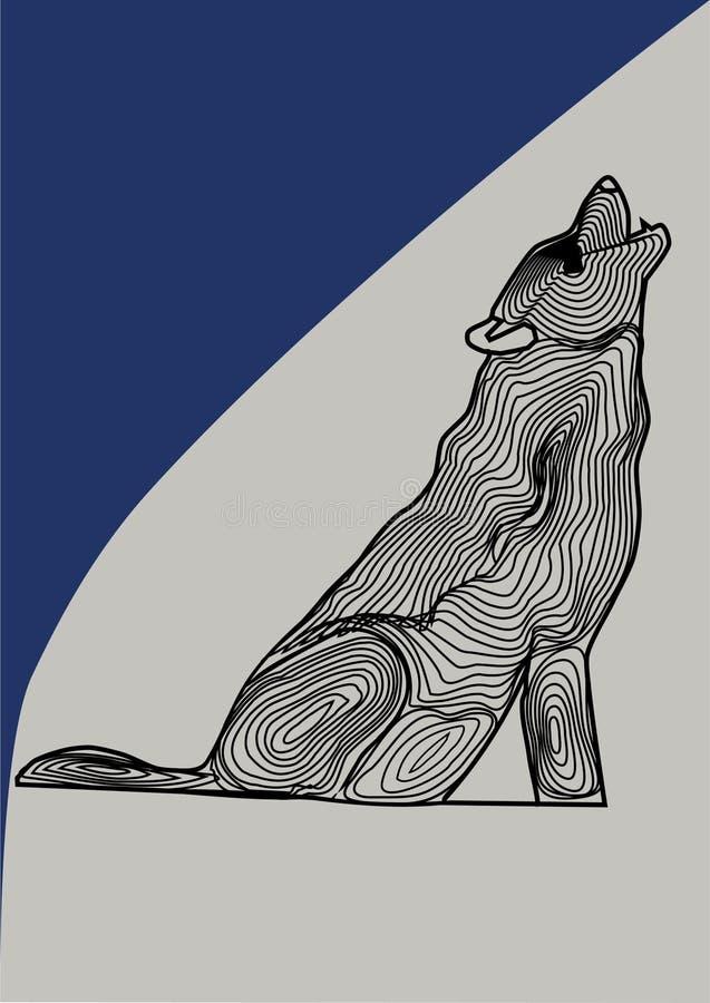 Loup animal sacré dans une image de vecteur, loup noir et blanc sur un fond coloré illustration libre de droits