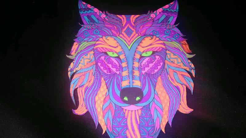 Loup au néon photographie stock libre de droits