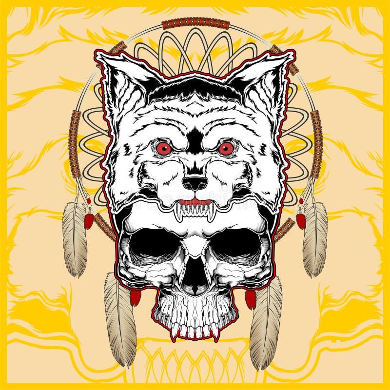 Loup avec le vecteur de dessin de main de crâne illustration libre de droits